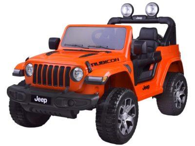 elektromos-kisautó-jeep-wrangler-kapcsolható-4-kerék-meghajtás-nyitható-motorháztető-slusszkulcs-2-üléses-narancssárga
