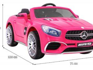 Elektromos Kisautó Mercedes AMG SL65-Slusszkulcs-Nyitható Motorháztető-Takaróponyva-Rózsaszín