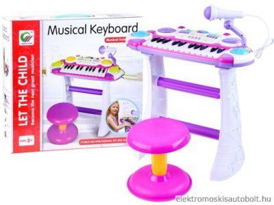 gyermek-szintetizátor-2-oktáv-székkel-mikrofonnal-felvétel-funkcióval-rózsaszín
