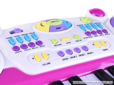 gyermek szintetizator 2 oktav szekkel mikrofonnal felvetel funkcioval rozsaszin 7
