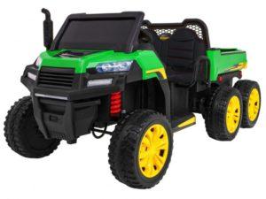 elektromos mezőgazdasági kisautó farmer-billenthető platóval-4 kerék meghajtással-2 x 12v akksi-Állítható Ülés-kétszemélyes-zöld
