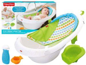 fisher-price baba fürdőkád 4 az 1-ben-felakasztható fürdőkád-függőágy betéttel-Ülőbetéttel-vízszínt jelzés-leeresztő dugó-stabil lábazattal-kiegészítőkkel