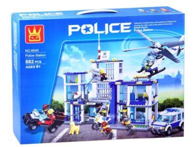 rendőrségi bázis Építő kockák-882 elemes-7 db. bábú- rendőrségi helikopter-motor-furgon-pótkocsis autó-kompatibilis más márkával