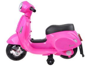 elektromos kismotor vespa 6v-fény és hanghatásokkal-segédkerékkel-rózsaszín