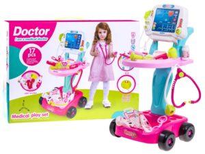 orvosi kocsi ekg-val-rengeteg kiegészítővel-hang és fényeffektusokkal-rózsaszín