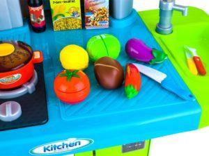interaktív konyha működő csappal-hang és fényhatásokkal-hűtő-sütő-mosogatógép-kávégép-akasztók-kiegészítők