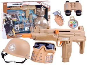 katonai szett-2 db. fegyver-sisak-távcső-gránát-maszk-tok-további kiegészítők-hang és fényhatások