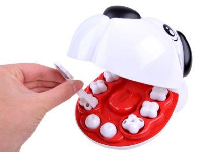oktató fogászati készlet-kutya fejjel-17 darabos-világító biztonsági tükörrel