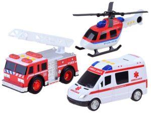 mentőegység-helikopter-mentőautó-tűzoltóautó-visszahúzható létrával-hang és fényhatásokkal