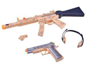 katonai szett-puska-pisztoly-fejhallgató-síp-hang és fényhatásokkal